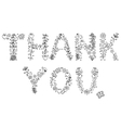 Thank you text on white background vector image