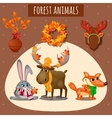 Three forest animals in a warm scarf and hat vector image