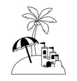vacations beach umbrella castle and palm vector image