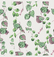watercolor tropical green leaves seamless pattern vector image