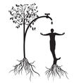 watering tree man vector image vector image
