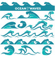 waves icons of water tidal gale blue ocean wave vector image vector image