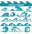 waves icons water tidal gale blue ocean wave vector image