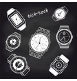 White watch icons on chalkboard vector image
