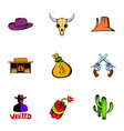 wild west icons set cartoon style vector image