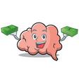 with money brain character cartoon mascot vector image