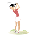 Women is playing golf vector image vector image