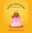 background with birthday cake and candles vector image