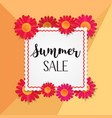 red flowers banner with black summer sale text vector image