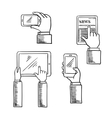 Sketch of hands with smartphones and tablets vector image