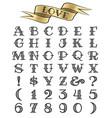 hand drawn tattoo font vector image