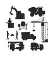 Set of heavy construction equipment silhouette vector image