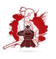 2 samurai composition cartoon vector image vector image
