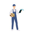 a young caucasian male delivery man delivered a vector image vector image