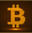 abstract neon sign bitcoin from pixels vector image vector image