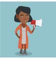 african woman promoter speaking into megaphone vector image vector image