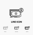 banknotes cash dollars flow money icon in thin vector image
