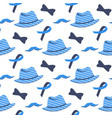blue ribbon mustache hat seamless pattern vector image vector image