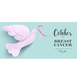 Breast cancer pink dove for social media cover vector image vector image
