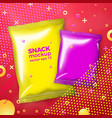 bright snacks mockup with abstract style vector image vector image