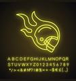 burning rugplayers helmet neon light icon vector image
