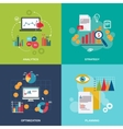 Business chart icons flat set vector image vector image