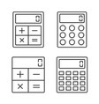 calculator line icons vector image vector image