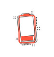cartoon battery icon in comic style battery vector image vector image