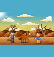 cartoon cowboy and cowgirl with a horse in the des vector image vector image