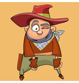 cartoon funny man in the clothes of a cowboy vector image