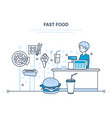 cashier with cash register in premise vector image vector image