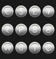 currency coins symbols icons metallic silver set vector image vector image