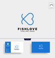 fish heart line logo template icon element vector image vector image