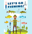 fisherman with rod and fish poster fishing design vector image