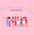 flat womens day card vector image vector image