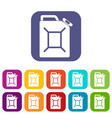 fuel jerrycan icons set flat vector image vector image
