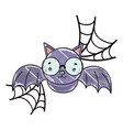 grated bat flying wearing glasses and spiderweb vector image