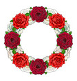hand drawn rose circle frame vector image