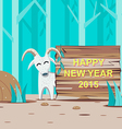 Happy New Year 2015 with Goat and wooden signboard vector image vector image