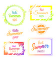 hello hot summer days and parties stickers set vector image vector image