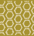 hexagonal abstract geo doodle shapes olive green vector image