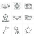 Line Icons Style black movie icon set on gray vector image