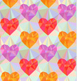 low poly hearts seamless pattern vector image vector image