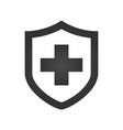 medical shield with cross icon black pictogram vector image vector image
