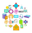 mobile connection icons set cartoon style vector image vector image