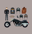motorcyclist and classic black motorcycle with vector image