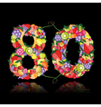 number eighty made from fruits vector image vector image