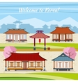 Old Korean town with traditional houses vector image vector image