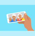 old man and woman video call phone flat concept vector image vector image
