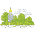 Old white church on a river bank vector image